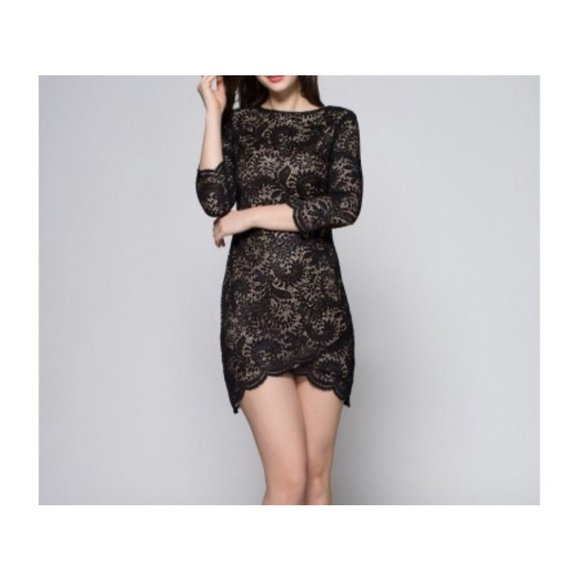 Lush lace 3/4 sleeves lace dress black S nude